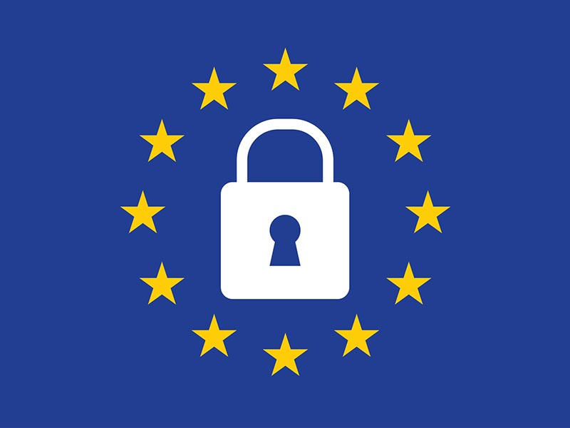General Data Protection Regulation (GDPR) padlock on european union flag